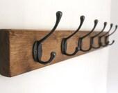 Chunky Wooden Coat Rack Vintage Reclaimed Handmade Cast Iron Hook Coat Hat Hooks