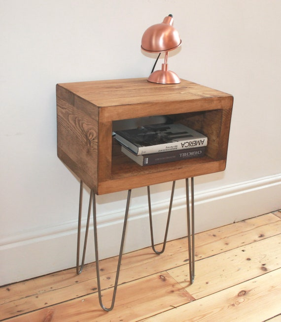 on sale 8081d 1df93 Rustic Bedside Table Handmade In Reclaimed Wood With Industrial Hairpin  Legs - Side Table - Plant Stand - Bedside Tables