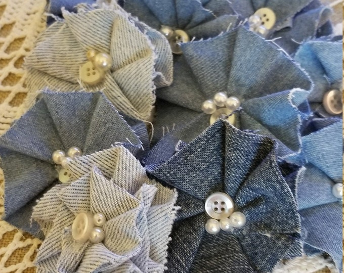 Asstd Denim Ruffle Corsage Flowers, Denim Headband Flowers, Denim Favor Flowers, Shower Favor Flowers