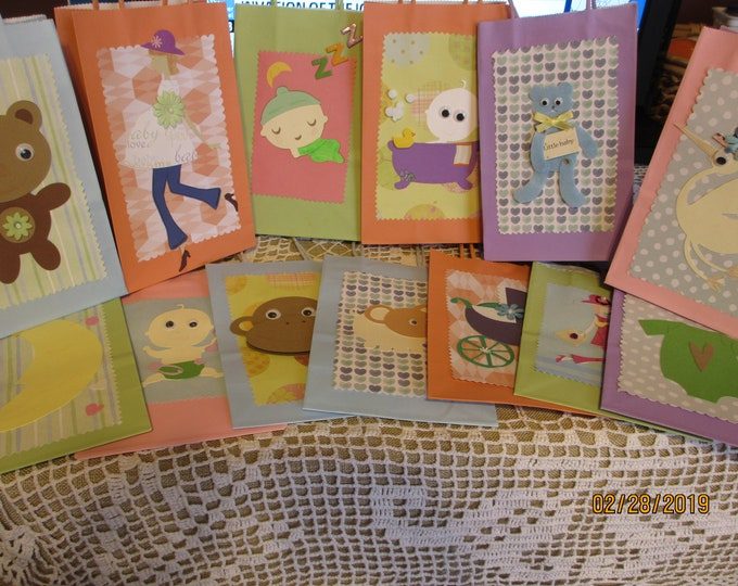 New 8 Asstd Handmade Neutral Baby Shower Favor Bags, 5.25x8.38x3.35 Favor Bags