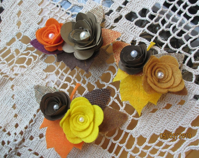 New Rustic Paper Felt Flower Hair Barrettes, Rustic Shower Flower Hair Clips,Fall Felt Corsage Flowers, Rustic Fall Bridal Shower Favors