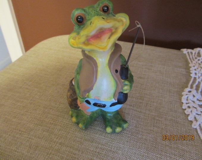Vintage Fisherman Frog Decoration, Frog Fisherman Collectors Item, Vintage Frog Decoration