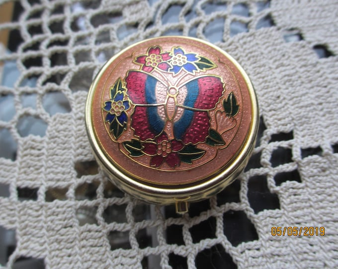 Beautiful Unique Vintage Enamel Butterfly Pill Box, Something Old Gift Pill Box,Vintage Mom Gift,Vintage Bridal Gift,Vintage Maid Honor Gift