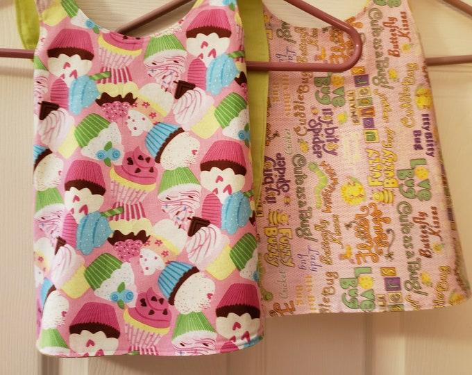 New Reversible Baby Bug Fabric Baby Apron Bib, Baby Sun Dress, Baby Apron, Baby Owl Fabric Apron  Bib, Cupcake Fabric Sun Dress