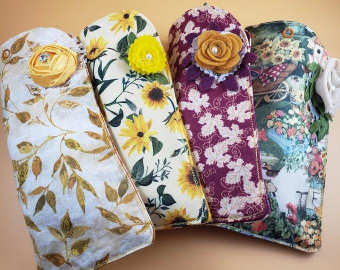 Sale New Handmade Fall Sunflower Fabric Sunglass Case, Fall Maple Leaf Fabric Sunglass Case, Teachers Holiday Gift, Fall Garden Fabric Case