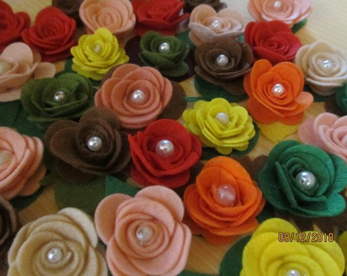 New Asstd Fall Felt Roses, Fall Felt Flowers, Fall Cake Flowers,Felt Barrette Flower