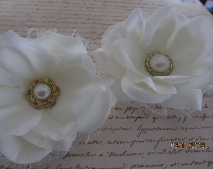 2 Asstd Handmade Ivory Corsage Flower, Bridal Ivory Wedding Corsage Flowers, Bridal Barrett Flowers