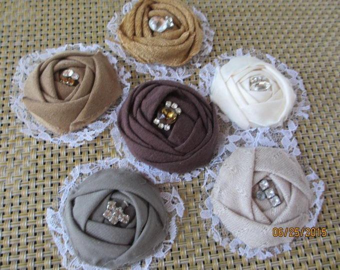 4 Fabric Fall Bouquet Flowers Rhinestones, Fabric Barrett Flowers, Fall Bridal Bouquet Roses, Fall Shower Favor Flowers