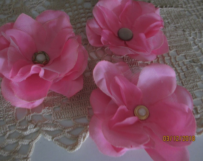3 Asst Handmade Pink Corsage Flower, Bridal Pink Wedding Corsage Flowers, Bridal Barrett Flowers, Sweet 16 Corsage