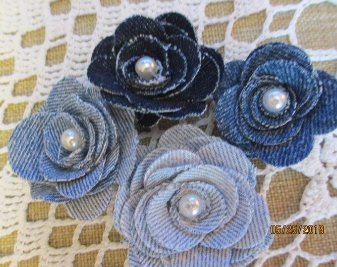 Asstd Denim Rose Flowers, Baby Shower Flower Favors, Denim Headband Flowers, Denim Corsage Flowers, Denim Bouquet Flowers, Baby Room Decor