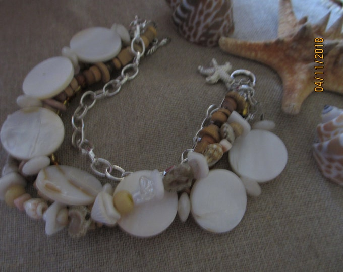 Rustic Style Beach Bracelet, Multi Strand Starfish Charm Bracelet, Shell Bracele