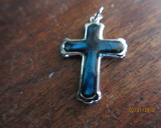 Sale Unique Vintage Blue Enamel Holy Cross Pendant Charm, Vintage Cross Pendant Charm