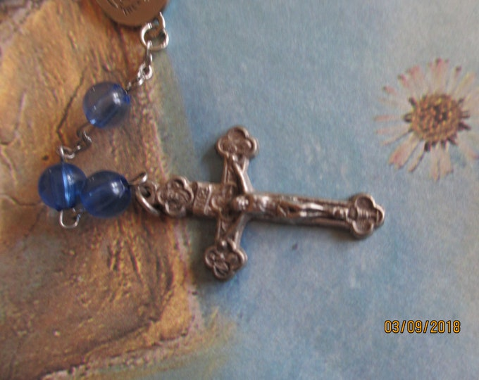 Unique Vintage Rosary w Holy Cross, Pretty Rosary w Cross,Vintage Communion or Confirmation Gift, Something Old Gift,Grandmother Gift