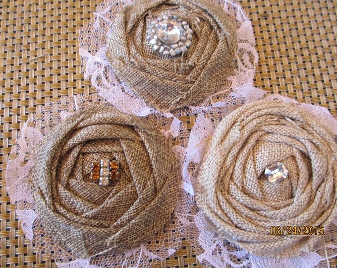4 Burlap Bouquet Flowers w Rhinestones, Burlap Rhinestone Cake Top Flowers, Burlap Bridal Corsage, Cake Flowers, Clothing Flower Accessory