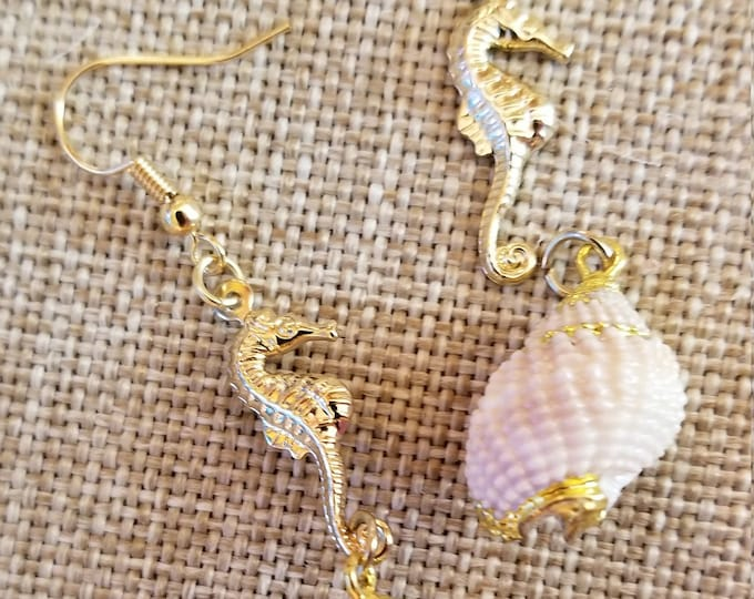 New Whimsical Fun Seahorse and Seashell Earrings, Summer Beach Earrings, Vacation Seahorse  Jewelry, Seahorse Earrings