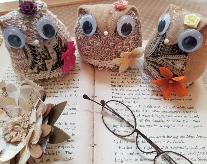 New Stuffed Fall Owl Pincushion, Owl Sewers Gift, Teachers Owl Pincushion Decoration, Teachers Gift, Owl Home Decor, Back to School Owl