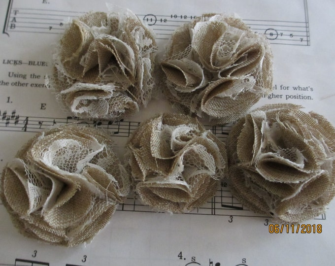 8 Asstd Handmade Rustic Burlap and Lace Corsage Flowers, Burlap and Lace Favor Flowers, Burlap and Lace Pom Pom Flowers