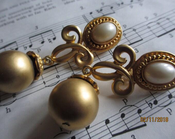 Unique Vintage Brushed Gold Mod Nouveau Earrings, Vintage Art Deco Bridal Earrings,