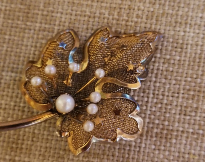 Vintage Signed  Sterling Fall Leaf w Pearl Pin Brooch, Vintage Filigree Leaf Pin, Vintage Fall Jewelry,Something Old Fall Bridal Pin