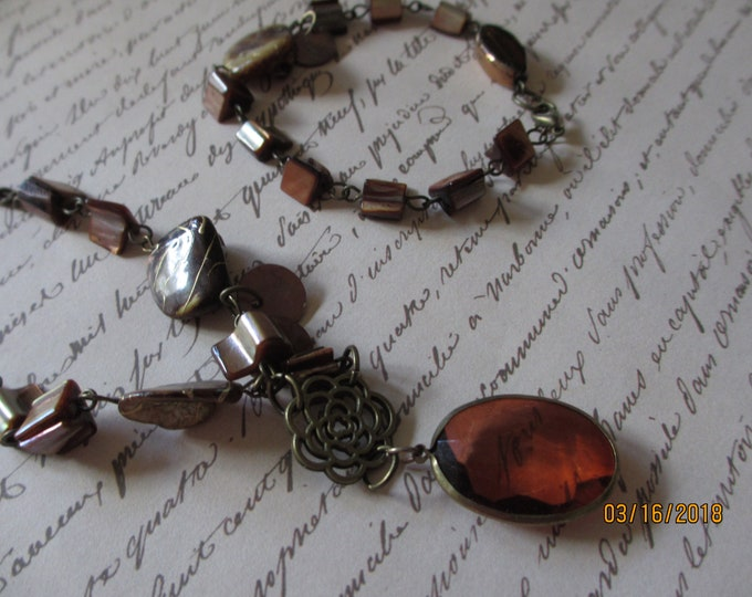 Unique  Handmade Country French Style Beaded Brown Stone Pendant Necklace w Brown Oval Pendant  with Bracelet, Mother of the Bride Necklace