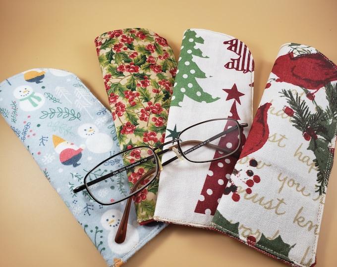 Sale Handmade Christmas Cardinal Fabric Eyeglass Case, Gnome Fabric Eyeglass Case, Holly Berry Fabric Eyeglass Case Teacher Gift, Nurse Gift