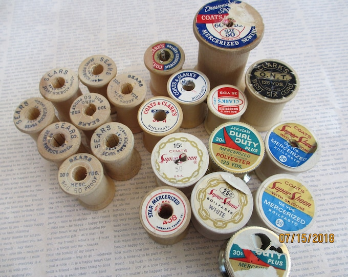 20 Vintage Asst Sewing Spools, Sears Roebuck Sewing Spools,Vintage Wooden Coats Clark Collector Sewing Spool