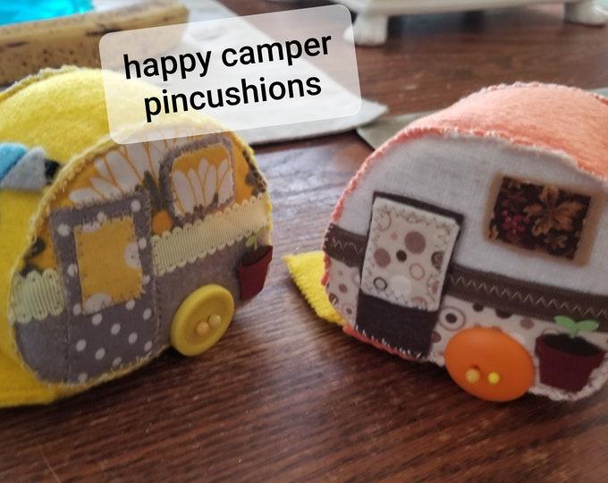 New Handmade Fall Camper Pincushion, Fall Camping Sewing Pincushion, Happy Camper Decoration, Fall Camper Decoration