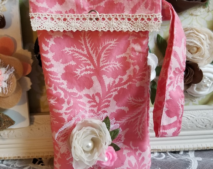 New Handmade Country French Cell Phone Purse, Vintage Style  Floral Fabric Cell Phone Purse, Water Bottle Pouch, Nurses Gift, Teachers Gift