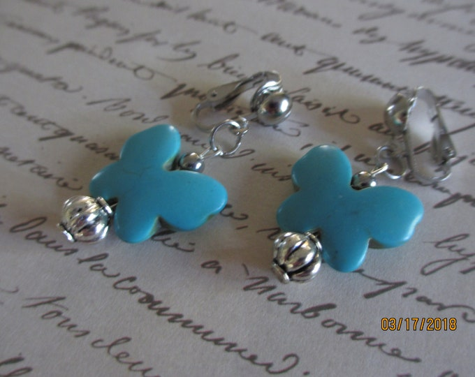 Pretty Turquoise Butterfly Pendant Earrings, Turquoise Clip On Earrings, Something Blue Bridal Earrings,