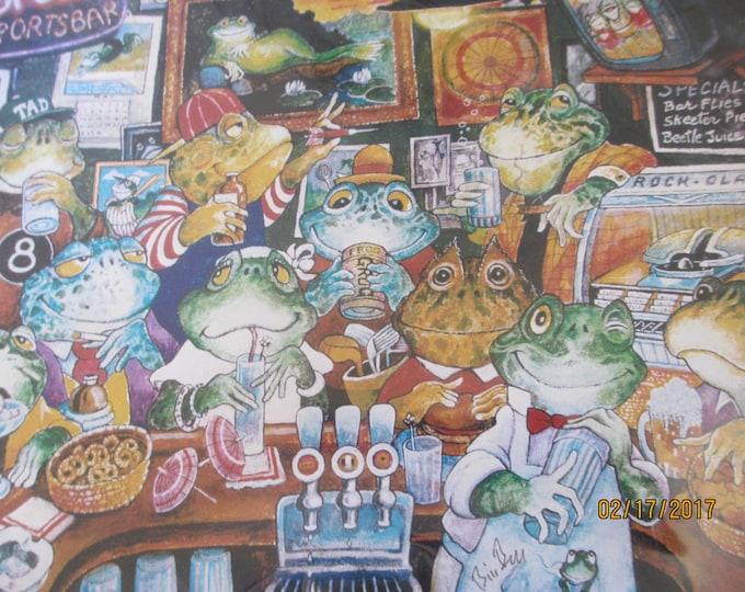 Unique Original Spud Sports Bar Print Matte, Original Signed, Bill Bell Frog Print, Drinking Frog Print