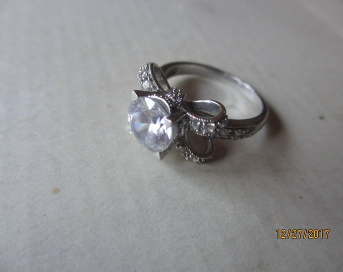 Unique Beautiful Signed IA Sterling Silver .925 CZ Ring, Vintage Sterling Silver Ribbon Bow Design Ring, Maid of honor gift