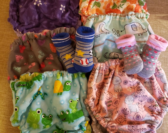 New Set of 2 Flannel Baby Diaper Covers, Reversible Diaper Cover, Baby Nappy, Bunny Fabric Nappy, Frog Fabric Nappy, Elephant Fabric Nappy,