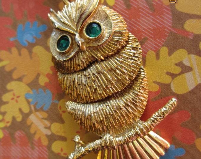 Unique Vintage Fall Owl Pendant Necklace, Movable Vintage Fall Owl Necklace