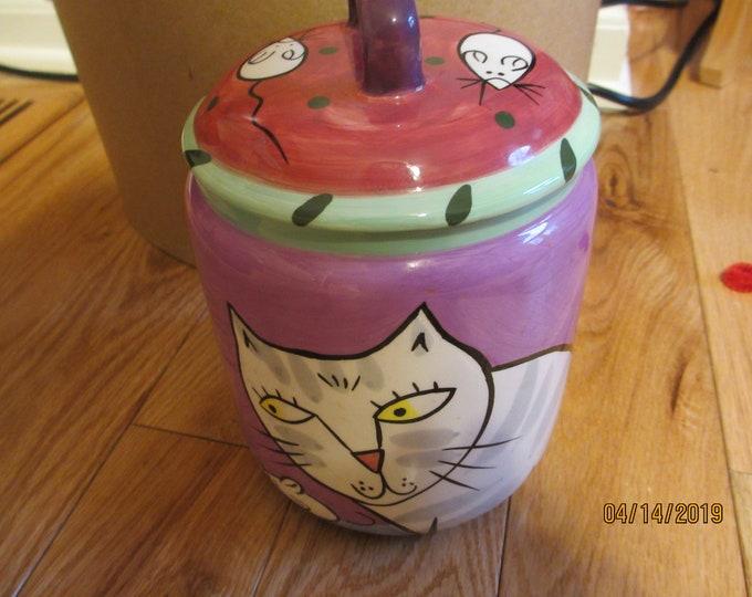 Unique Beautiful Hand Painted Karen Gelff Cat Treat Jar, Ceramic Cat and Mouse Treat Jar, Original Karen Gelff Happy Dog and Cat Jar
