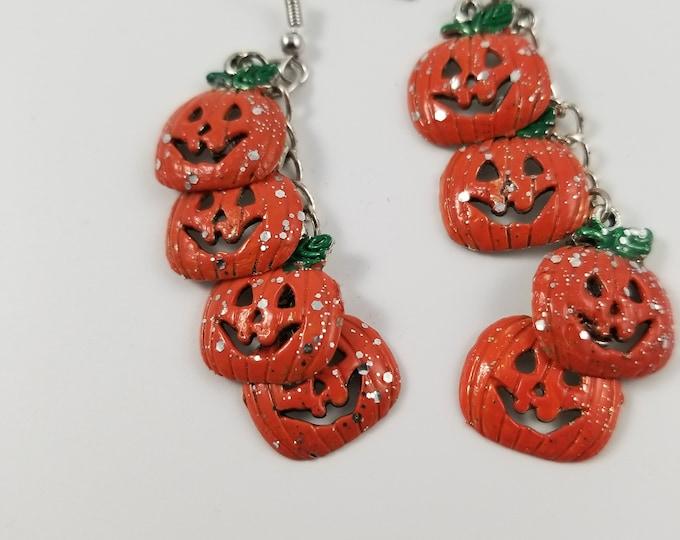Fall Sale New Hand Painted Colorful Fall Glitter Pumpkin Charm Earrings, New Fall Jack o Lantern Pumpkin Earrings, Fall Jewelry