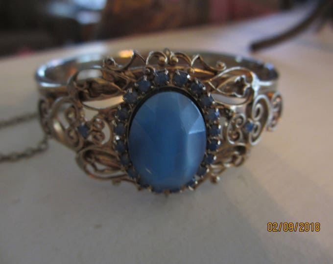 Rare Unique Mid Century Vintage Cuff Bracelet, Vintage Blue Gem Scroll Cuff Bracelet, Beautiful Vintage Bridal Something Old Gift