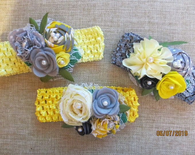 Sale Rustic Baby Flower Rustic Grey Yellow Crochet Headband Flowers, Rustic Crochet Headband Flowers, Rustic Flower Baby Photo Headband,