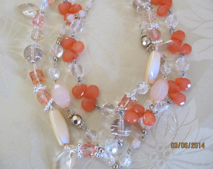 Triple Strand Peach and Cream Beaded Statement Necklace, Bridal Statement Necklace