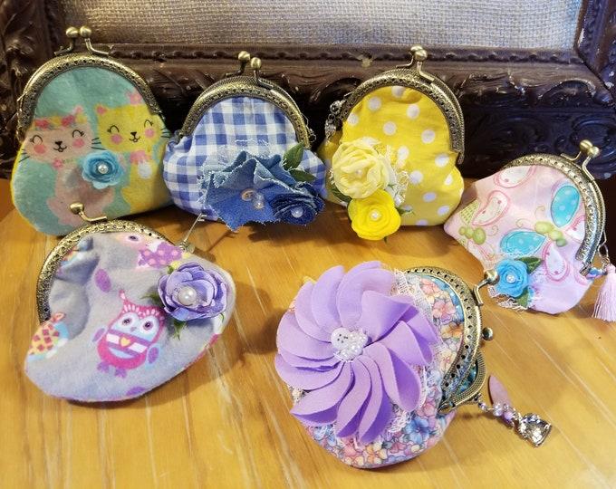 Handmade Coin Fabric Purse w/ Purse Charms, Graduation Coin Purse,Girls Coin Purse, Teachers Gift Coin Purse Gift, Nurses GIft, Summer Purse