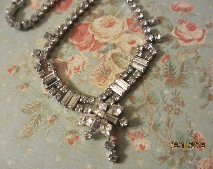Very Unique 1950's Signed Parco Crystal Rhinestone Bridal Necklace, Vintage Heirloom Rhinestone Choker Necklace, Something old Bridal Gift