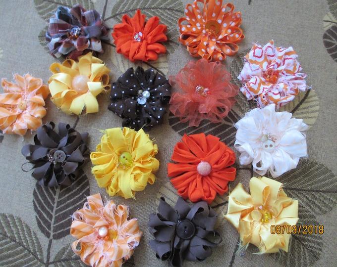 6 Asstd Handmade Rustic Fall Loop Flowers, Fall Corsage Flowers, Fall Favor Flowers, Fall Home Decor Flowers