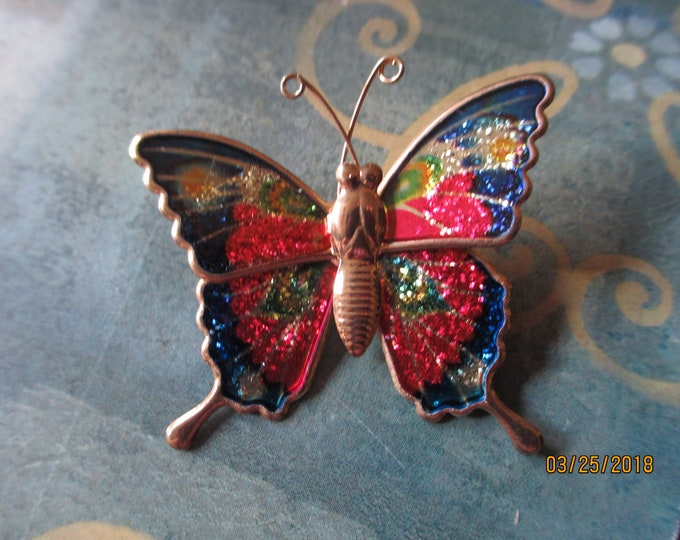 Unique Beautiful Colorful Enamel Vintage spring Butterfly Pin, Grandmother Pin, Gardeners Pin Bride Gift,Grandma Gift