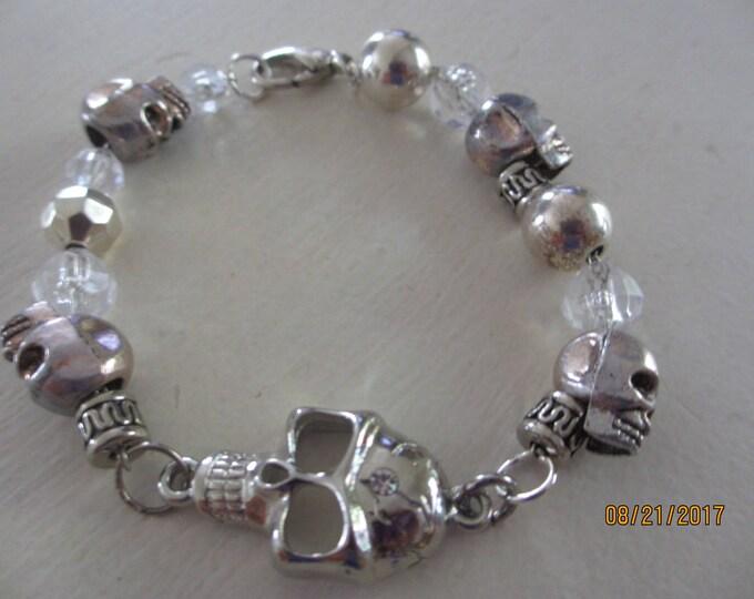 Handmade Unique Skull Charm Bracelet, Skull Bracelet