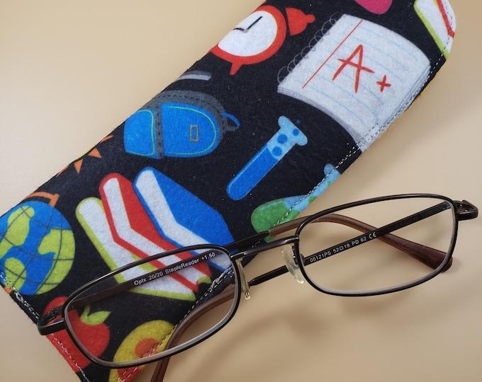 Sale Handmade Teachers School Fabric Eyeglass Case, Teacher Felt Eyeglass Case, Student Eyeglass Case Teacher Gift, Holiday Gift, Nurse Gift
