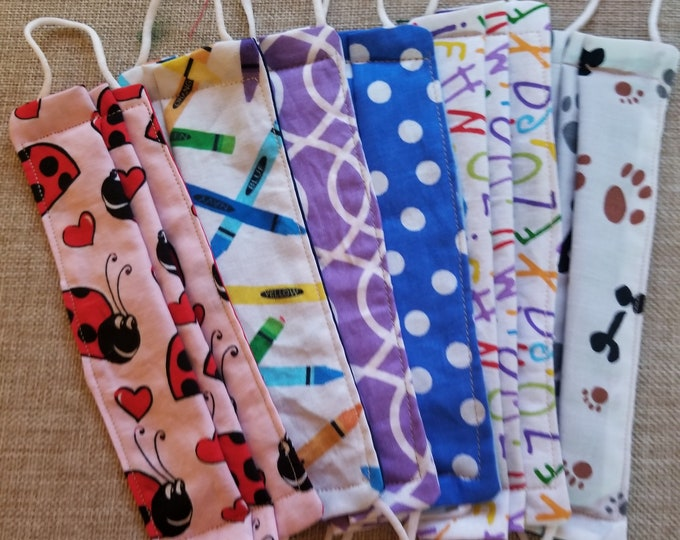New Set of 6 Asstd Handmade Childrens Face Masks Lot, Back to School Face Masks, Teachers FaceMasks School Supplies,