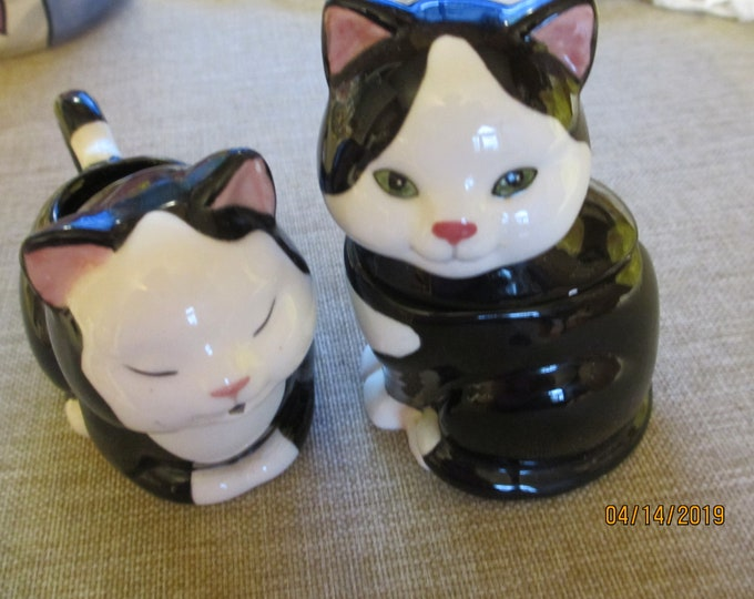 Applause Tuxedo Cat Cream and Sugar Bowl,Ceramic Cat Sugar Creamer,Cat Lover Gift, Grandma Gift, Mom Gift