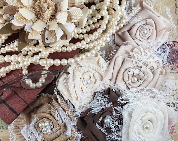 Fabric Fall Bouquet Flowers Rhinestones, Fabric Barrett Flowers, Fall Bridal Bouquet Roses, Fall Shower Favor Flowers