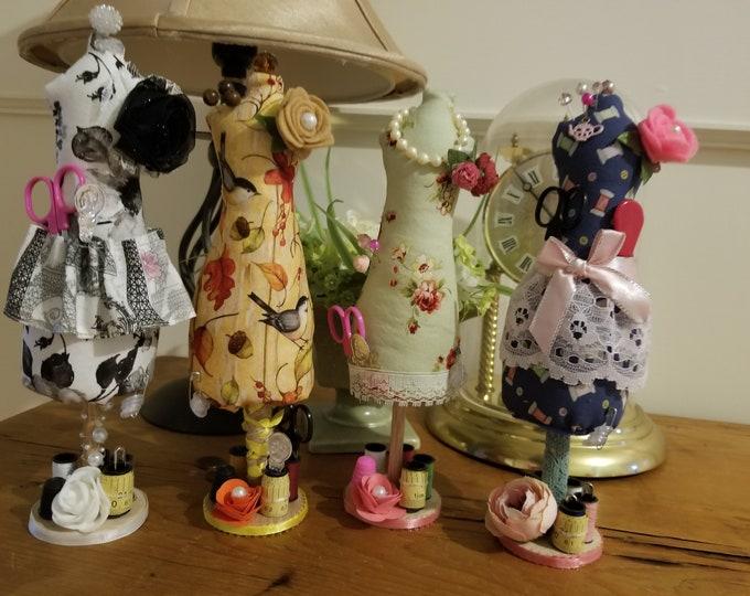 New Handmade Dress Form Mannequin Pincushion, Dress Form Sewing Pincushion, Sewers Gift, Grandma Sewing Gift, Dress Form Sewing Pincushion