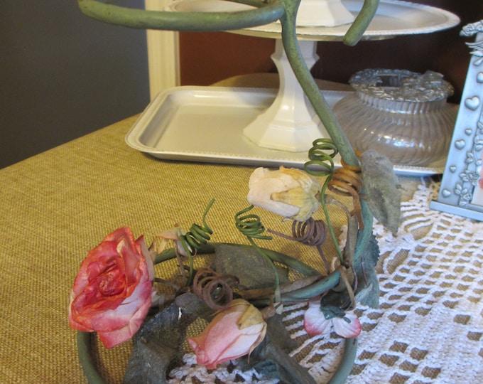 Unique Handmade Vintage Floral Candle Holder, Floral Tea Light Candle Holder