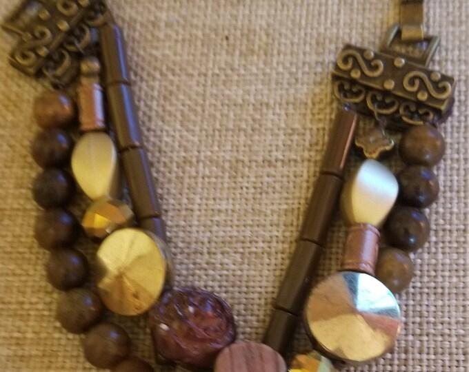 New Fall Sale Stretch Brown Beaded Triple Strand Fall Bracelet, Fall Beaded Bracelet, Fall Jewelry, Fall Wedding Bracelet